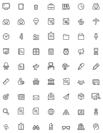 icone office: Entreprise simple et bureau ic�ne ensemble Illustration