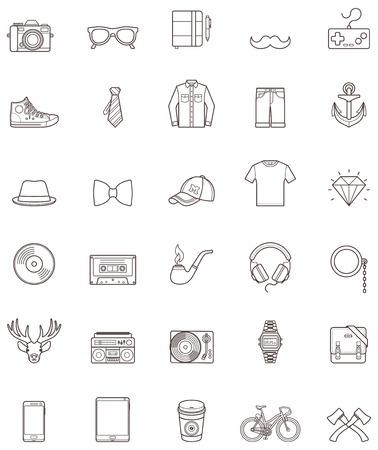 Conjunto de los iconos simples inconformista