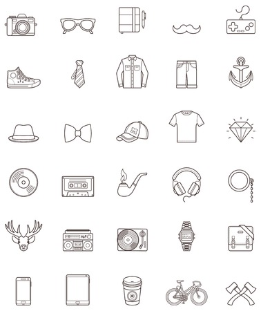 Set of the simple hipster icons Vector