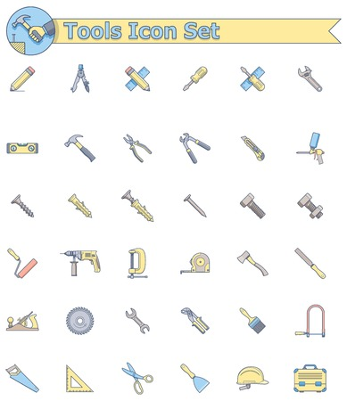 Set of the working tools icons Illustration