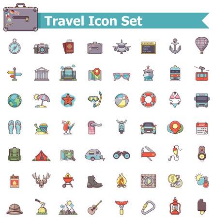 Zestaw ikon związanych z podróżami