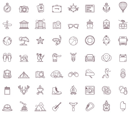 camping equipment: Set of the travel related icons