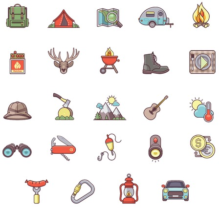 Set of the Camping related icons Иллюстрация