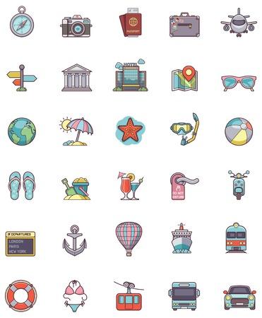 Conjunto de los iconos relacionados con los viajes Foto de archivo - 32765885
