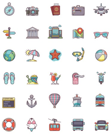 Set of the travel related icons Vector