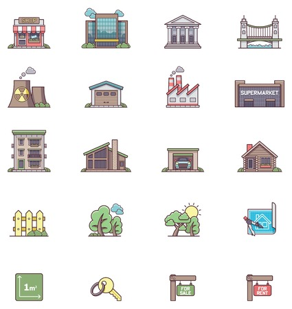 hangar: Set of the real estate icons Illustration