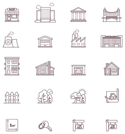 wooden houses: Set of the real simple estate icons