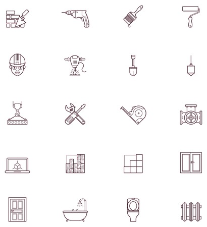 tile flooring: Set of the construction and renovation related icons