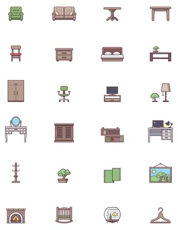 Set of the Domestic furniture related iconst Vector