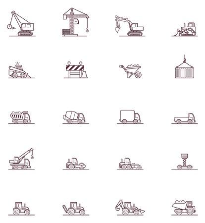 maquinaria pesada: Conjunto de los iconos relacionados con la maquinaria de construcción