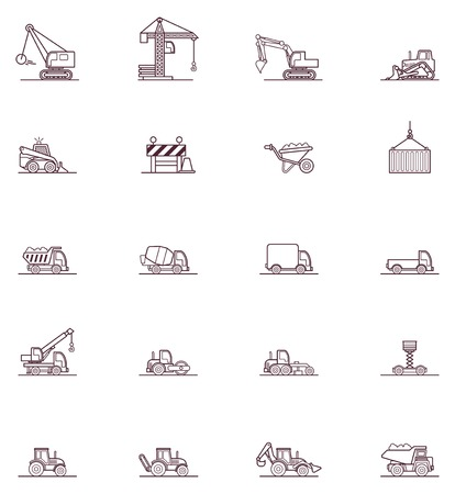 compactor: Set of the construction machinery related icons Illustration
