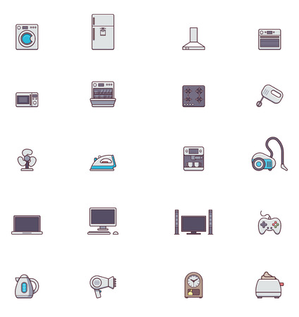 iron fan: Set of the Domestic appliances related icons Illustration