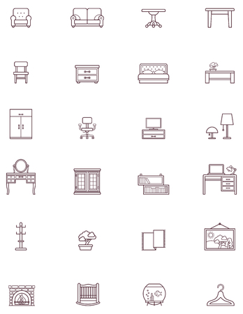cradle: Set of the Domestic furniture related iconst