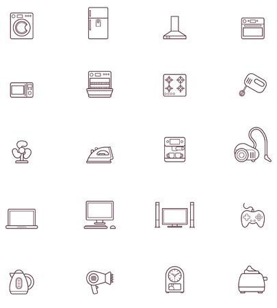 국내의: 국내 제품 관련 아이콘의 집합 일러스트