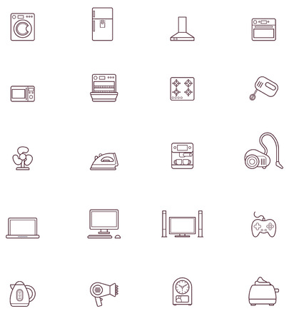 Set of the Domestic appliances related icons Vector