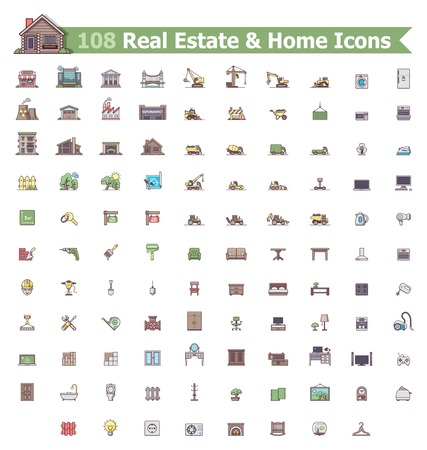 Set of the home related icons Vector