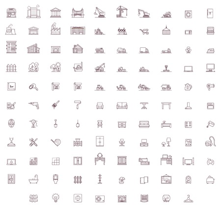 Set of the home related icons Иллюстрация