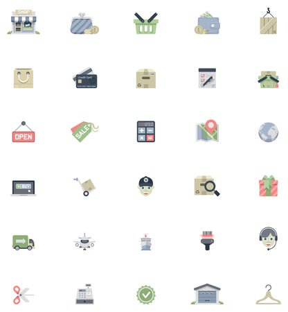 cash register building: Set of the shopping related icons
