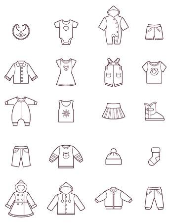 moda ropa: Conjunto de la ropa de bebé iconos Vectores