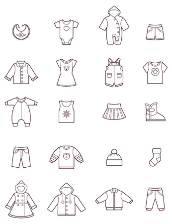 skirt suit: Set of the baby clothes icons