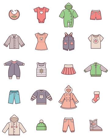 pantalones cortos: Conjunto de la ropa de bebé iconos Vectores