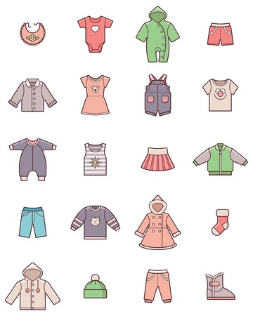 Set der Baby-Kleidung Symbole Vektorgrafik