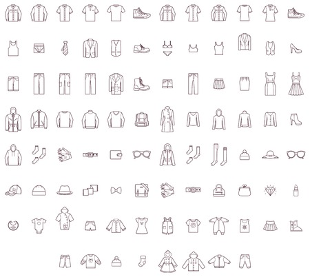 pyjamas: Set of the men, women and baby clothes Illustration