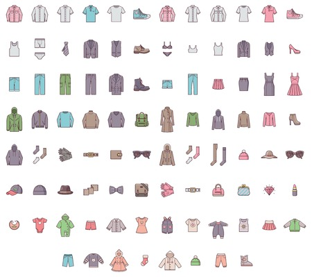 Set of the men, women and baby clothes Vectores