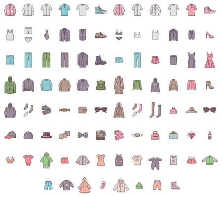 Sada z mužů, žen a dětské oblečení