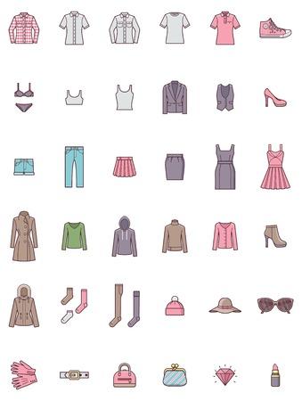 Set of the women clothes Çizim