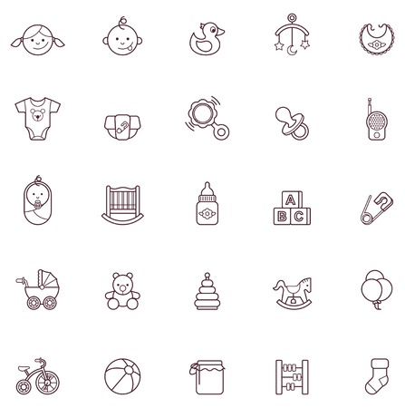 Set of the baby related icons Vector