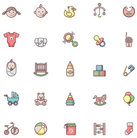 beanbag: Set of the baby related icons