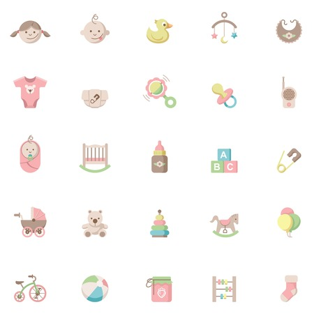 diaper pins: Set of the baby related icons