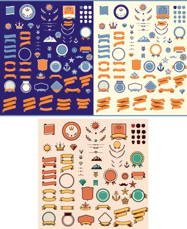 Set of the ribbons, tags, labels and other elements Illustration