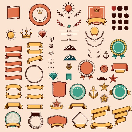 Définir des rubans, étiquettes et autres éléments Banque d'images - 34492800