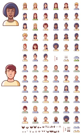 Set of the male and female faces Vector