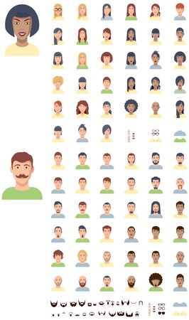 mustaches: Set of the male and female faces