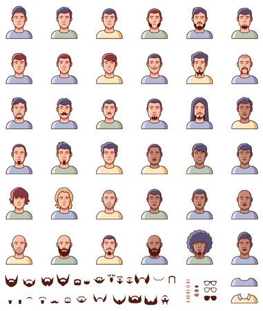 Définir des différents visages masculins Vecteurs