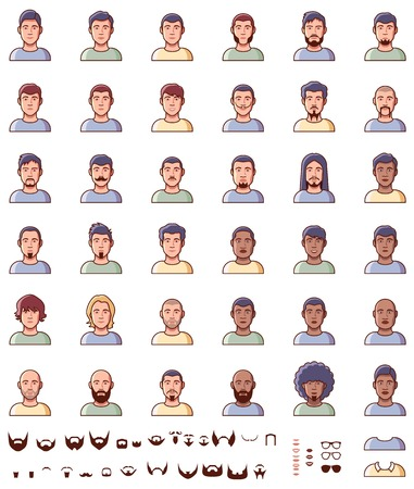 black head and moustache: Set of the different male faces Illustration