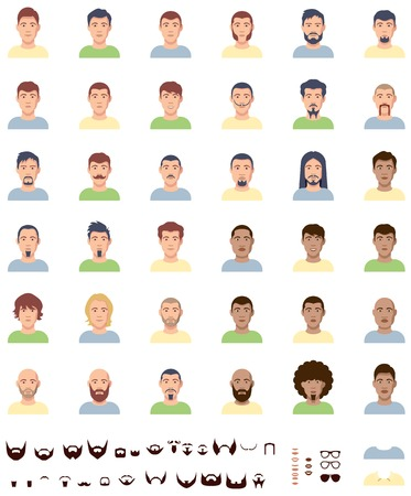 asian adult: Set of the different male faces Illustration