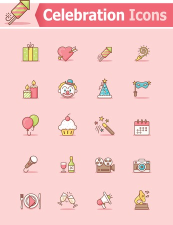 cartoon calendar: Set of the celebration related icons