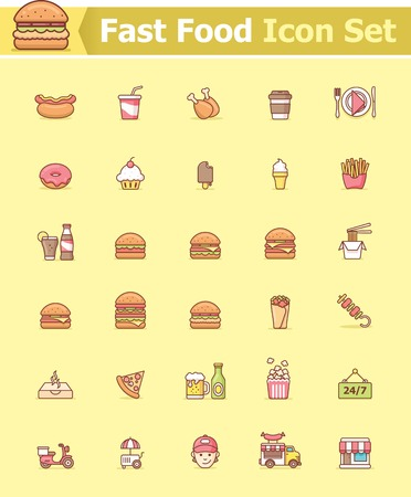 fried noodles: Fast food icon set