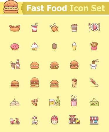 food package: Fast food icon set