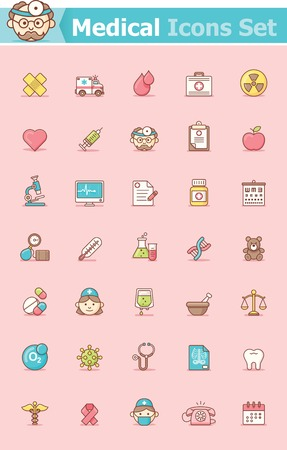 test tube babies: Set of the healthcare related icons Illustration