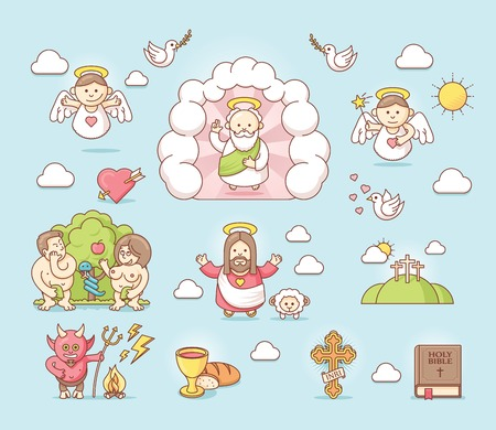 adam and eve: Set of the religious related icons