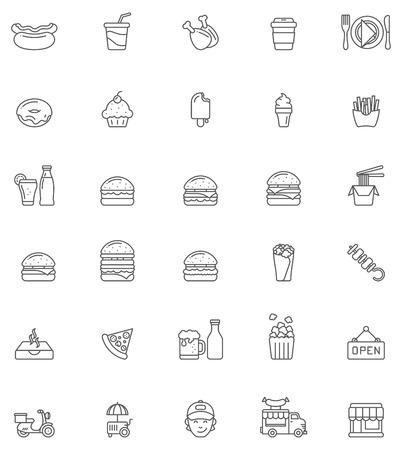 voedingsmiddelen: Set van de fast food-gerelateerde pictogrammen
