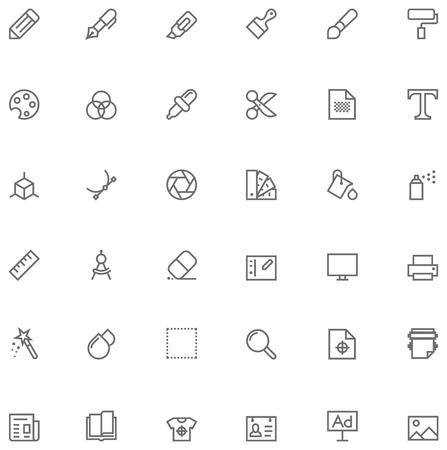 the publisher: Set of the simple graphic design related glyphs Illustration