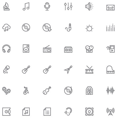 Set of the simple music and audio related glyphs