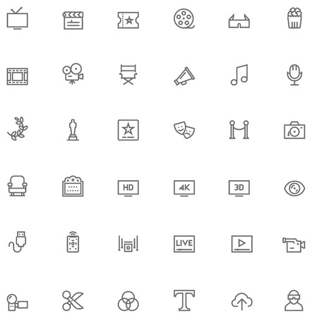 Set of the simple video and cinema related glyphs Vector