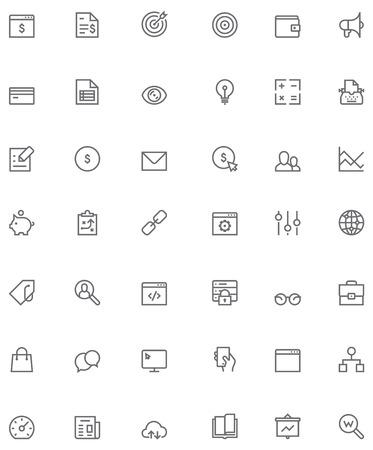 keywording: Set of the simple SEO related glyphs